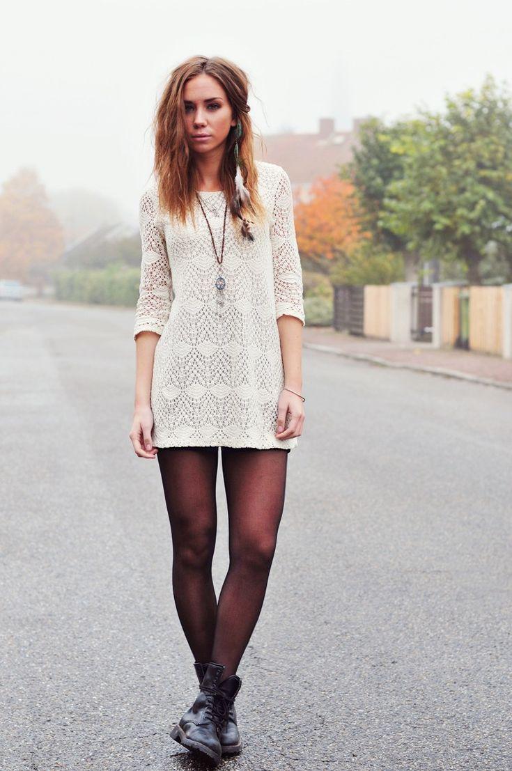 White dress boots - Lacy Mini Dress
