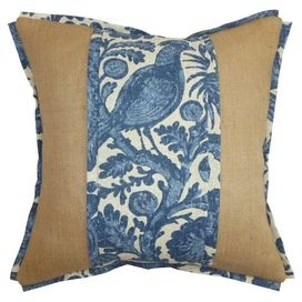Stout Patter: Schrader 1 Indigo on chambray and burlap pillow with a feather down insert