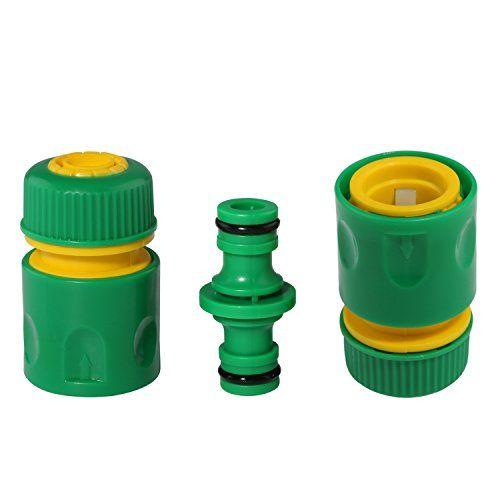 Tuyau Raccord de tuyau cannelé Plastique outils de jardin à laver l'eau Tuyau d'arrosage rapide Connecteurs adaptateur [2pcs] et 1/2…