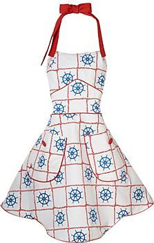 Dive into your galley (aka kitchen) duties in this fetching nautical inspired apron!