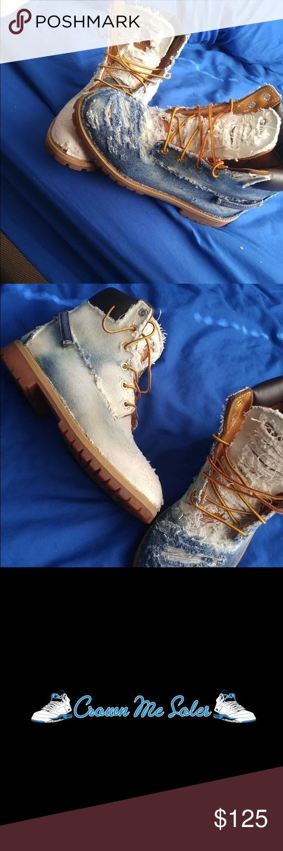 "Custom ""Denim"" Timberlands ""Denim"" Timberland Custom SALE!!! Made To Order $175 • Comes With Timberland Like Boots $100 • Customer Provides Boots 72 Hr Turnaround Time 