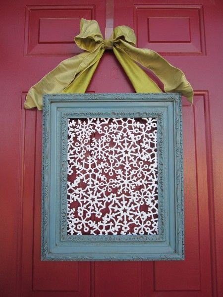 Update the traditional wreath by using a square frame! Fill it with your favorite scrapbook paper or this adorable snowflake foam via BlueCricketDesign.net!