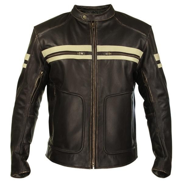 Xelement BXU165250 Men's Brown Leather Cruiser Motorcycle Jacket