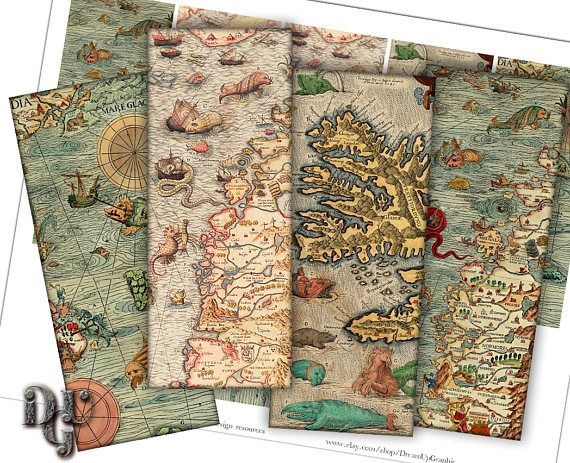 ANTIQUE MAPS Bookmarks Digital Collage  Medieval Nautical