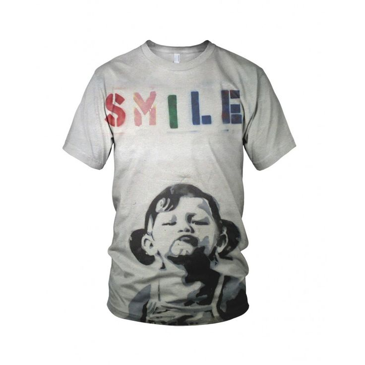 """Smile Girl, from the collection of """"Hand Printed"""" Designs by the prolific street artist known as """"Banksy"""".   More Designs and Styles on the Store: http://www.globalmusicollective.com/store/?product_cat=banksy"""