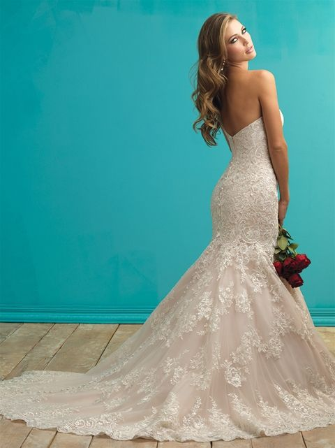 Allure style 9261 Trumpet lace wedding gown with sweetheart neckline and clear sequins through dress