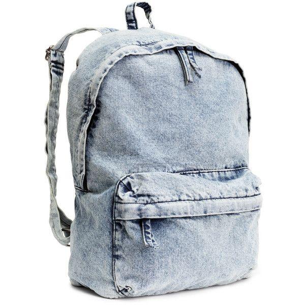 H&M Backpack found on Polyvore featuring bags, backpacks, accessories, bolsos, light denim blue, zip bags, denim backpack, zipper bag, blue backpack and blue denim backpack