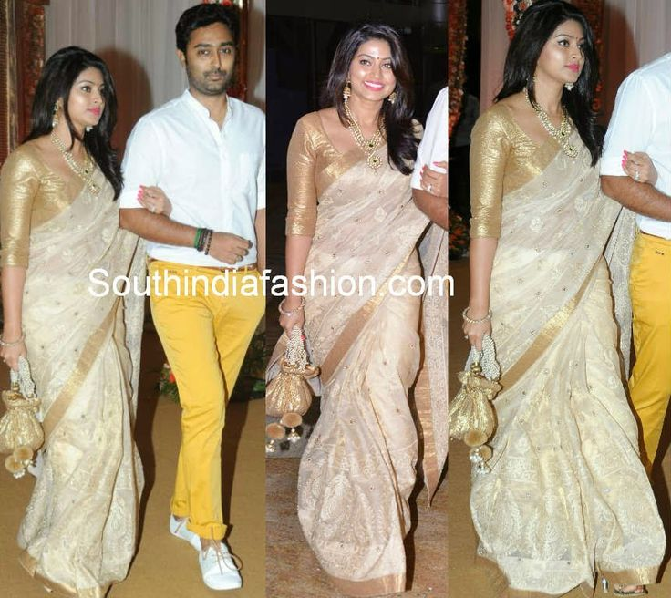 Sneha Prasanna in Off White saree ~ Celebrity Sarees, Designer Sarees, Bridal Sarees, Latest Blouse Designs 2014
