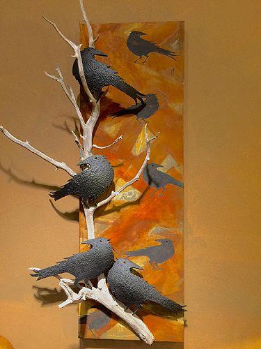 Gourd art ravens on panel by Robert Rivera