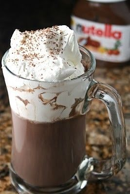 NUTELLA HOT CHOCOLATE  1 serving    1 cup milk (I use skim)  2 1/2 Tbsp Nutella  1 Tbsp Cocoa  Tiny pinch of salt    In a small sauce pan over medium heat, whisk all ingredients together until well blended and hot.  Pour in a cup and top with homemade whipped cream and shaved chocolate.