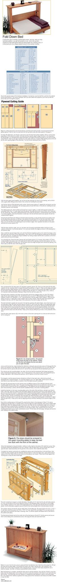 A guide for making a fold down bed. Make the most of tight spaces. Craftsman.com #1897