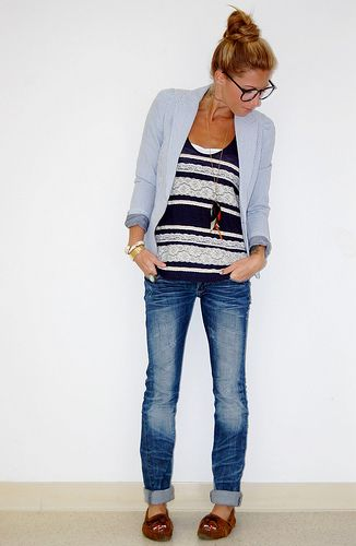 :): Outfits,  Blue Jeans, Style, Moccasins, Boyfriends Jeans, Casual Blazers, Casual Looks, Ray Ban Sunglasses, Stripes