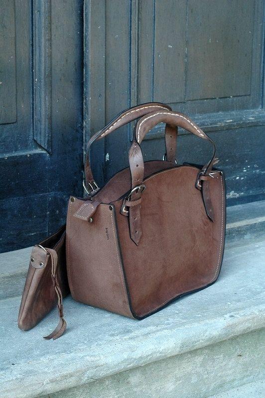Bolso de mujer de cuero hechos a mano con embrague Ladybuq brown