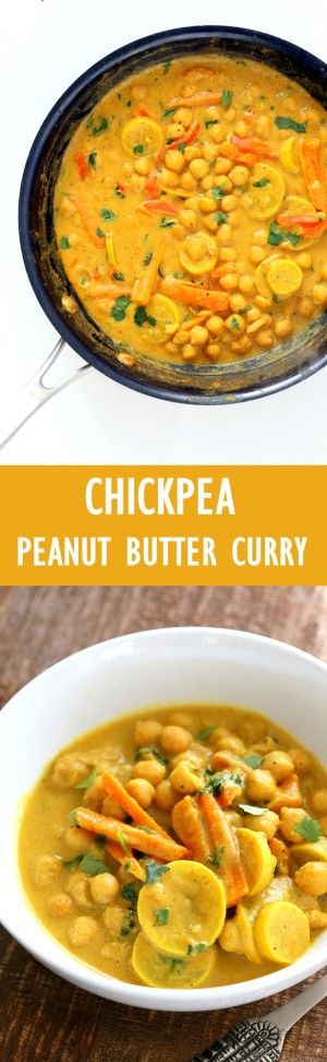 Chickpeas in Turmeric Peanut Butter Curry. Easy Nut Butter Curry Sauce with Summer veggies and Chickpeas. #Vegan #Glutenfree…