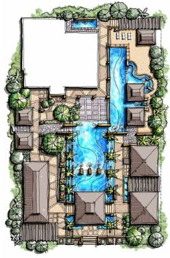 Tropical Villa Landscape Master Plan, bali landscape, asian contemporary landscape design, tropical modern landscape