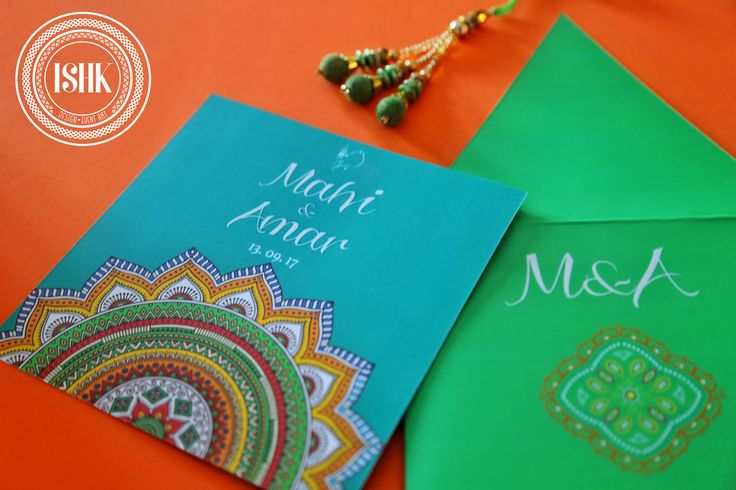 A playful design inspired by Bandhani elements. We love the vibrancy and colour in this design. #invite #invitation #indianwedding #wedding #ishk #eventart #weddingdetails #love #culture #southafrica #design #customdesign #eventstationery