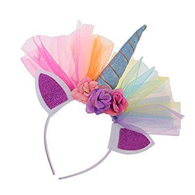 MagiDeal Venda de Tul Forma de Cuerno de Unicornio y Orejeras Decoración de Pelo de Fiesta de Halloween Traje de Disfraces para Adultos Niños - 2#