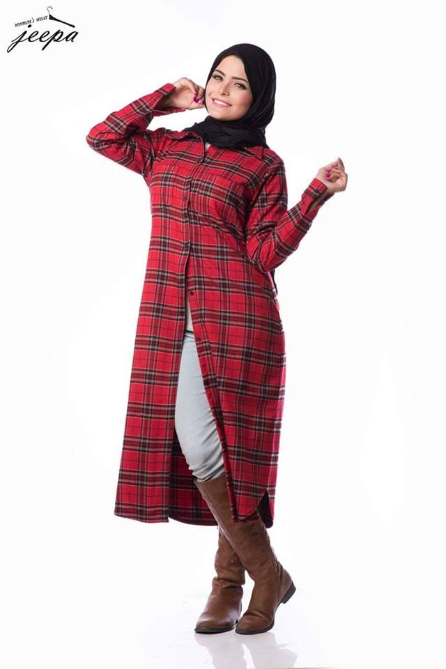 long plaid tunic with boots, Casual winter hijab looks http://www.justtrendygirls.com/casual-winter-hijab-looks/