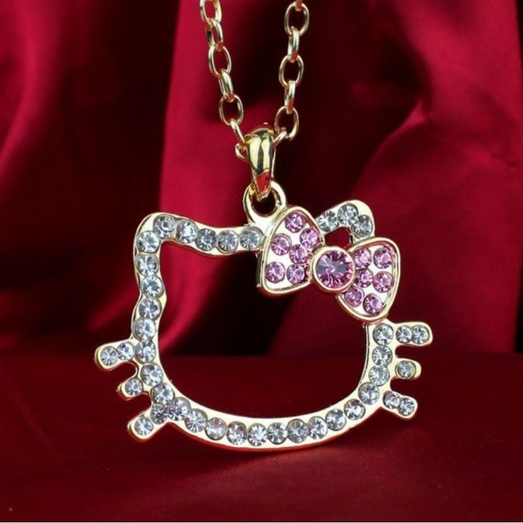 18k Gold Silver Plated Hello Kitty Necklace Pendant
