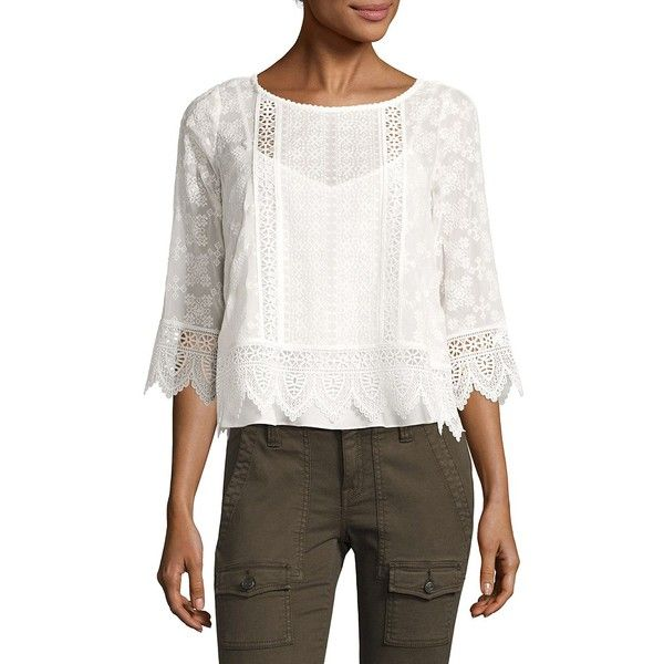 Joie Hadlee Lace Silk Blouse ($224) ❤ liked on Polyvore featuring tops, blouses, white silk blouse, scalloped blouse, joie blouse, white lace top and silk top