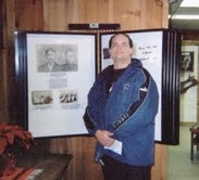 Youngest son Alan standing by photo's and story about his great grand dad Doc Scurlock and great grand mother Maria Antonia Miguela de Herrera @ Billy the Kid Museum in Fort Sumner N.M.