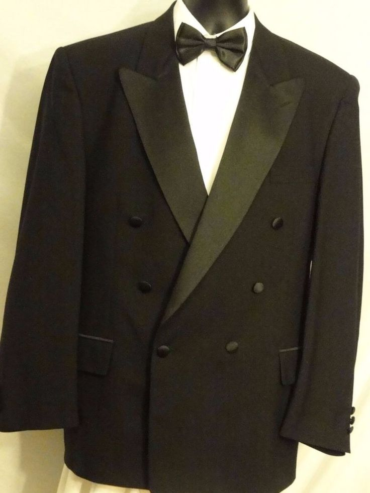 BILL BLASS  Mens Black Double breasted suit/ Tuxedo, 100% Wool, SATIN TRIM 42R #BillBlass #DoubleBreasted