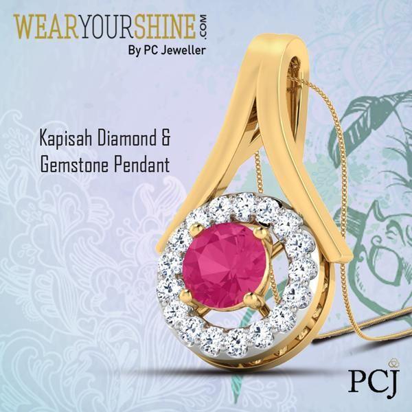 "Let This Gemstone Studded Pendant light up your day as you dazzle with ""The Kapisah Diamond & Gemstone Pendant"" By WearYourShine.  #WearYourShine #Love #Pendants #India #Jewellery #PCJeweller #Jewelry #Happiness #Shine #Gemstones #Diamonds #Ruby #Fashion"