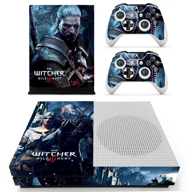 The Witcher Wild Hunt design skin decal for Xbox one S console and 2 controllers