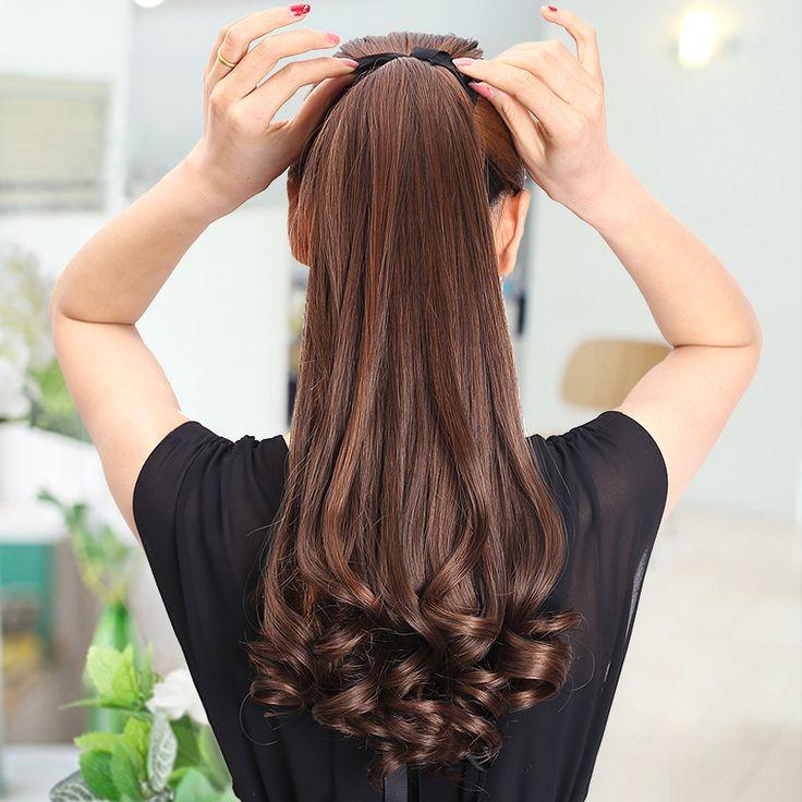 Lange Lady Girl Golvend Paardenstaart Pruiken Pony Haarstukje Extension synthetische clips in haar paardenstaarten haarstukken