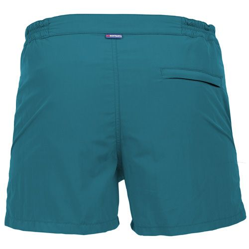 HARRIS SWIM SHORTS COLOR PETROL GREENSolid petrol green HARRYS Swim Shorts. Two side pockets. Small front pocket with Saint Barth embroidery on the flap, and concealed snap button. Zippered back pocket. MC2 Saint Barth brand patch on waist to the reverse. Zipper and magnetic closure with interior button. Semi-elastic waistband with elastic inserts at lateral side. Interior brief. COMPOSITION: 50% POLYESTER 50% NYLON. Model wears size M, he is 189 cm tall and weighs 86 Kg.