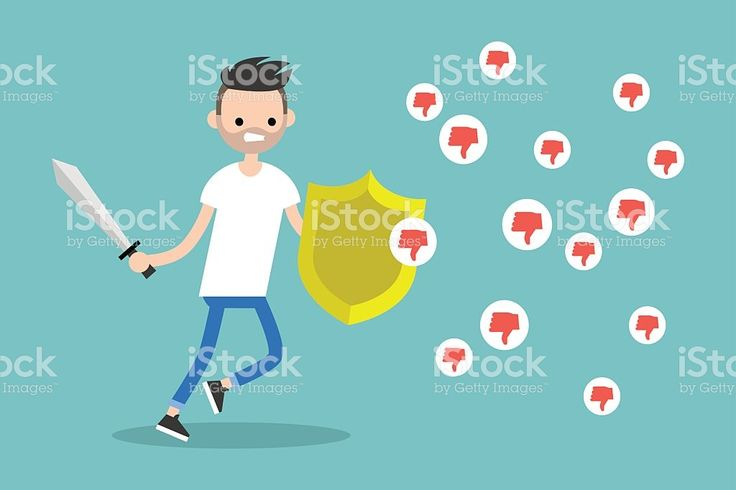 Young bearded man fighting against negative reactions in social media royalty-free stock vector art