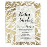 Elegant faux gold foil floral damask Baby Shower Card