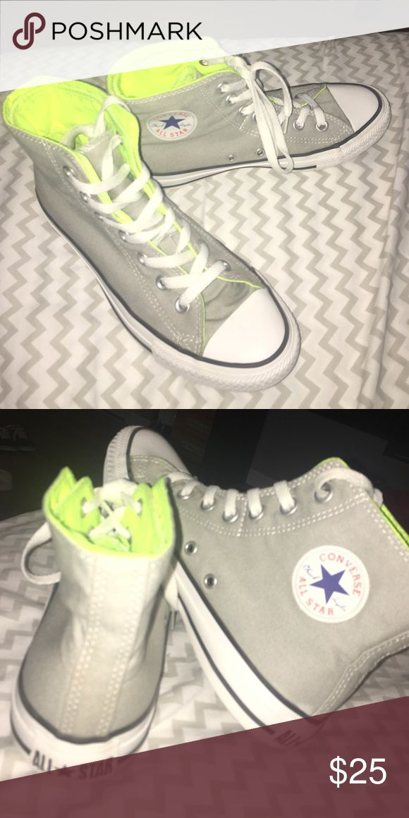 Converse shoes Grey with a green inside , inside flap can fold down to give and green and grey shoe Converse Shoes Sneakers