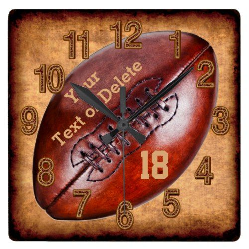 Personalized Vintage Football Decor Name Number Square Wall Clock