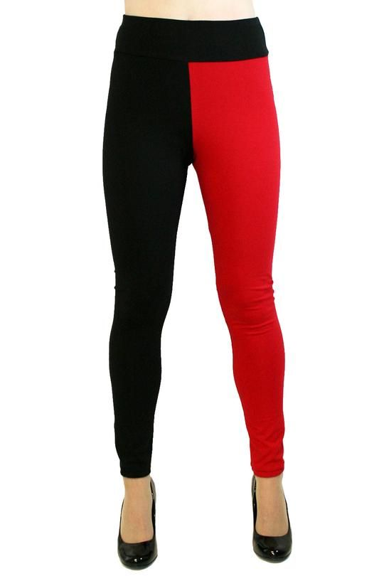 3c9dd0398ae Full Length Red and Black Cotton Harley Quinn Leggings made by Deranged  Designs in regular and plus size XS S M L XL 2XL 3XL cosplay costume