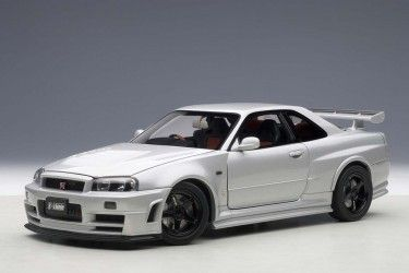 AUTOart die-cast model Nissan R34 GT-R Z-Tune  Z-Tune Silver 77352 die-cast model in 1:18 scale,  Item# AU77352 ezToys - Diecast Models and Collectibles