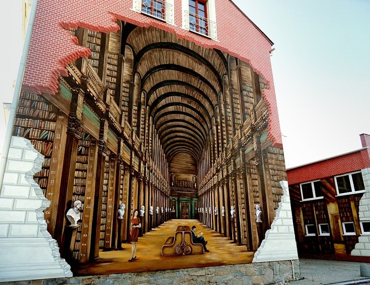 Mural of Trinity College Library in Dublin, painted on Ustroń Public Library, Poland.   Credit: *missing*.  #books #murals #library