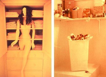 1st female centered art installation womanhouse by judy for Judy chicago menstruation bathroom