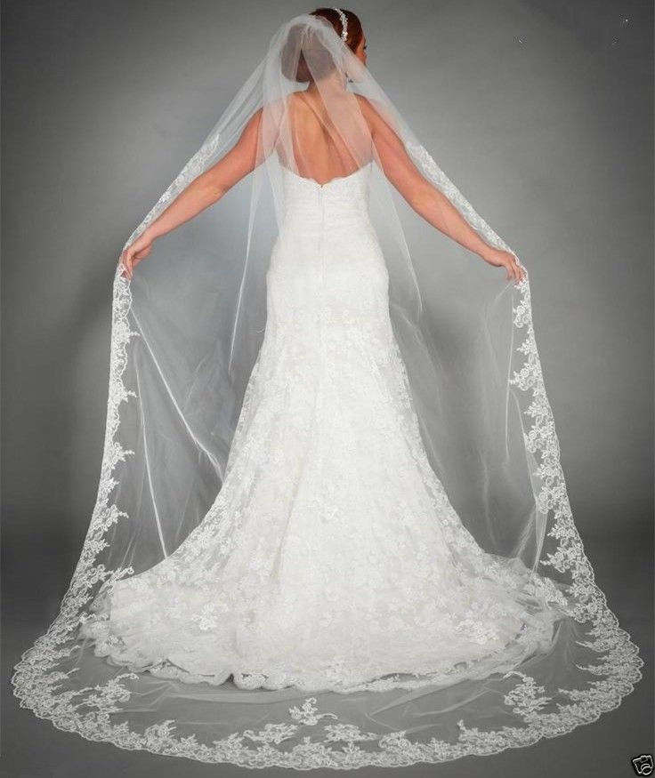 2.5m Ivory White One Layer Tulle Lace Edge Cathedral Wedding Veils Long Bridal Veil With Comb Voile Mariage Wedding Accessories