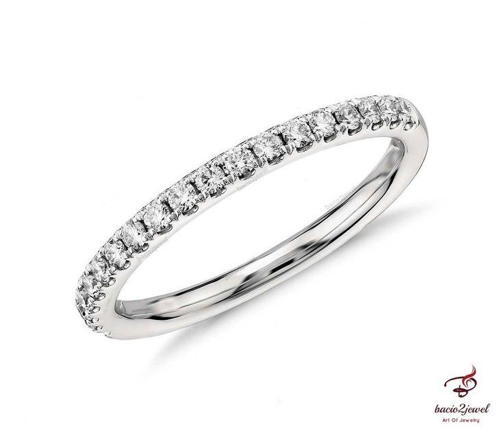 14K Ladies White Gold Round Diamond Pave Wedding Engagement Band Ring 0.50ct #bacio2jewel #WeddingBand