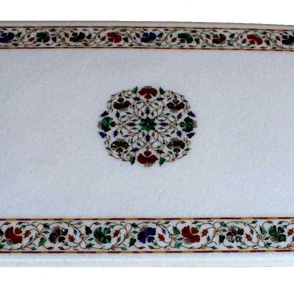Surrealz genuine Marble pietra dura table - inlaid with semi precious stones - lapis lazuli, jasper, malachite, mother of pearl