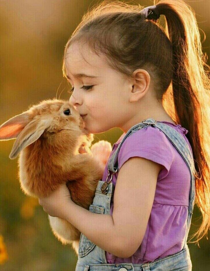 Sweet little girl and bunny
