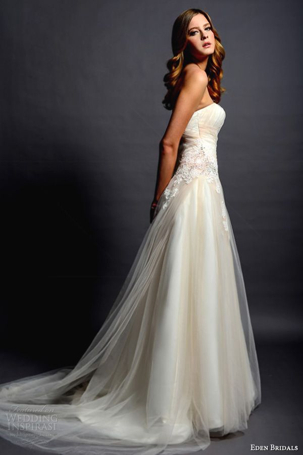 Eden Bridal Wedding 2012 - Style BL055 strapless fit and flare gown in light, Italian satin with lace and sequin tulle overlay.