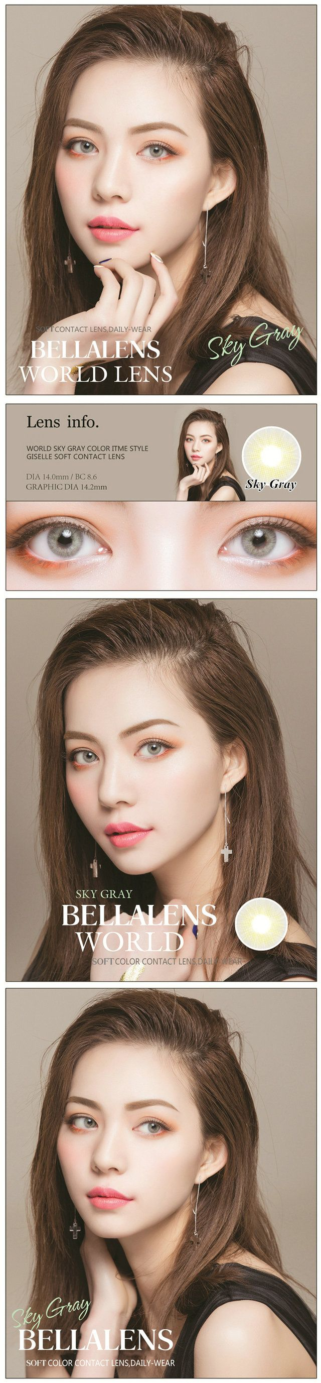 14.20mm Bella Aurora Contact Lens Color Sky Gray - $16.99 : contactlensdropshipping.com, online shopping