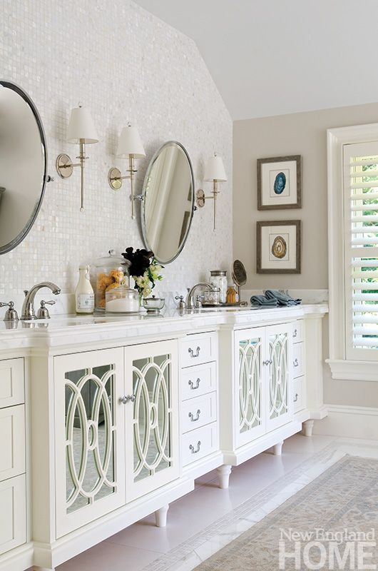 detailed cabinetry, thick marble countertop and sparkle in wall tile....lovin' this!