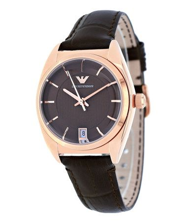 Another great find on #zulily! Gold & Brown Leather Watch by Armani Exchange #zulilyfinds