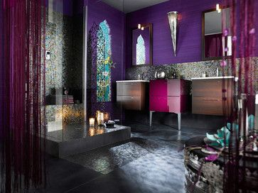 mediterranean bathroom by Moroccan Design.  Notice the jewel-like mosaic tile, the colors on the wall and the pretty fuchsia cabinet.