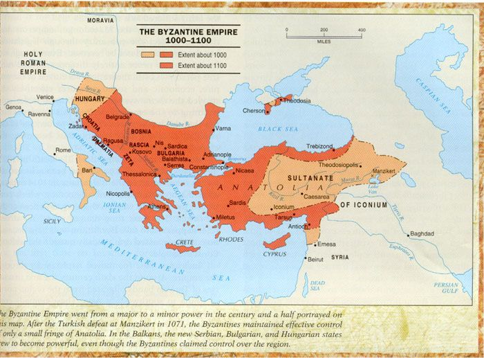 During the postclassical period, two major civilizations formed in Europe. The Byzantine Empire was one of them. It was in western Asia and southeastern Europe and expanded into eastern Europe. The Byzantine maintained very high levels of political, economic, and cultural life between 500 and 1450 C.E.