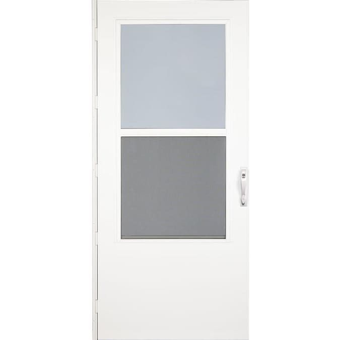 Larson 32 In X 81 In White Mid View Wood Core Storm Door Lowes Com In 2020 Storm Door Larson Storm Doors Tall Cabinet Storage