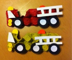 Fire Trucks out of egg carton